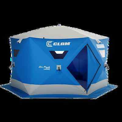 Clam Six Pack 1660 Mag Thermal Pop Up Hub New Ice Fishing Tent Camping Shelter