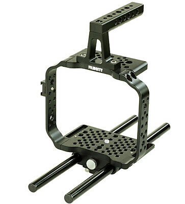 FILMCITY 15mm Rod Cage Rig Handle Blackmagic Production Cinema Camera For DSLR