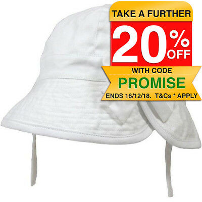 Playette Baby/Infant One Size Summer Hat w/ White Bow/Chin Strap Sun Protection