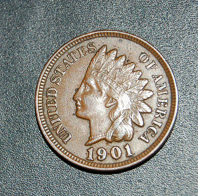 1901 Indian Head Cent Full Liberty Superb Early Type Coin!