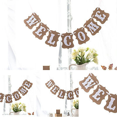 WELCOME Rustic Wedding Decor Vintage Bunting Garland Banner Photo Props