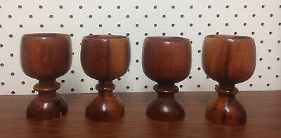 4 x Vintage hand turned timber egg cups treen retro eames era - kyp