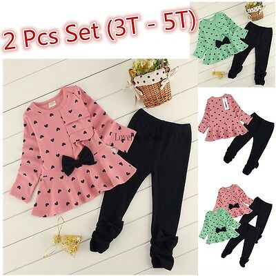 3T-5T Toddler Kids Baby Girls T-shirt Tops+Pants Outfits Clothes 2PCS Set