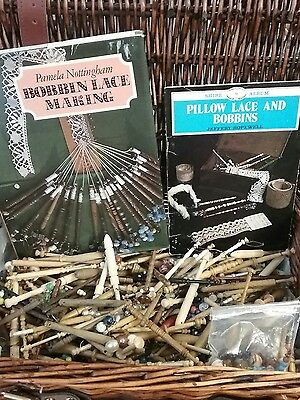 Vintage Set of over 200 X  Lace Making Bobbins - some With Spangles ,2 books