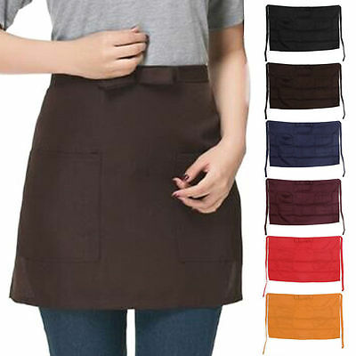 Half Short Waist Polyester Apron Waitress Waiter With Pocket Kitchen Cafe Pub