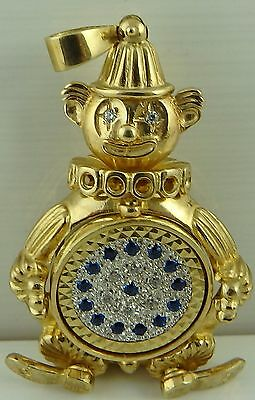 Large heavy  9ct solid yellow gold articulated gem set clown pendant 30.3 grams