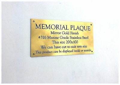 Gold Mirror Stainless Steel Memorial Plaque no holes 200x100x2mm