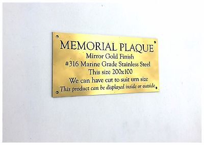 Stainless Steel Gold Mirror Memorial Plaque No Holes 200X100X2Mm