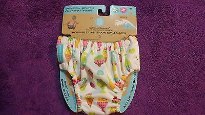 NWT Charlie Banana Reusable Easy Snaps Swim Diaper Medium NEW 2016 Gelato Print