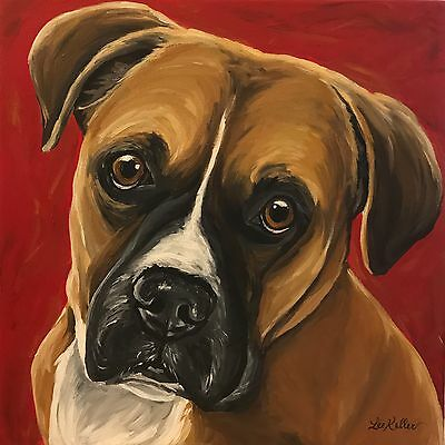 "Boxer dog art print from original painting,  10x10"" boxer print signed by artist"