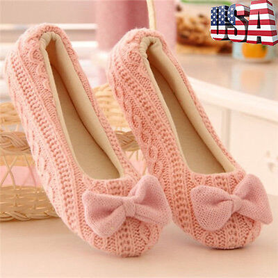 Womens Warm Indoor Yoga Home Slippers Mules Non-slip Floor Outsole Flats Shoes