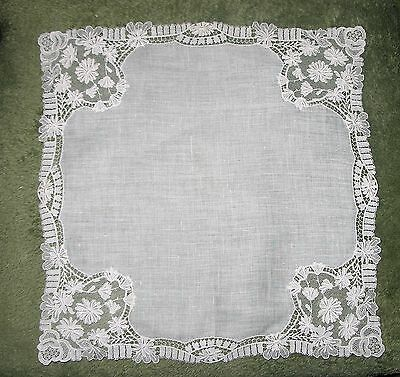 VINTAGE ~ Antique Needle Run Embroidery Net Lace  Hanky w/ Appliques~Bridal  #2