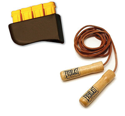 Everlast Leather Weighted Training Jump Skipping Rope And Finger Strengthener