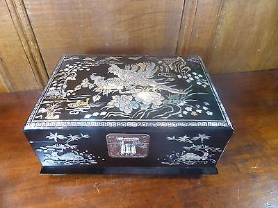 Vintage LARGE JEWELLERY BOX inlaid MOTHER of PEARL - internal tray - 25cms/9.75""
