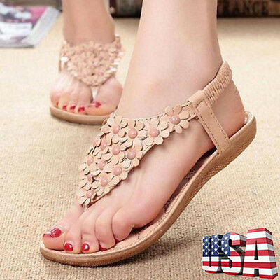 Boho Womens Summer Gladiator Slippers Flip Flops Flat Sandals Beach Thong Shoes
