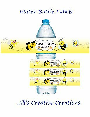 Bee Water bottle labels, Bees, Gender reveal, Baby shower, Water bottle labels