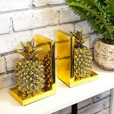 Gold Pineapple Bookends Book Shelf Fruit Ornament Item Home Decor Object Modern
