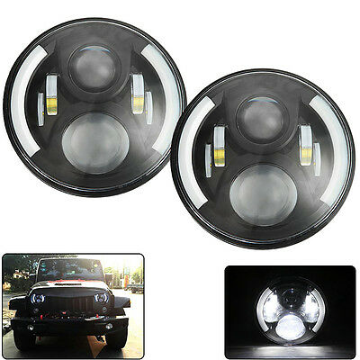 2x 7inch CREE LED Headlight for Jeep Wrangler JK LJ Driving Land Rover Defender