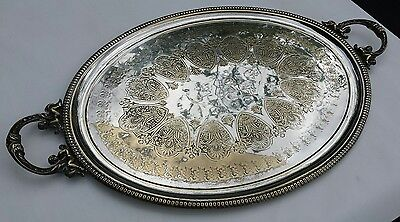 Antique Extra Large Chased Silver Plate Twin Handled Oval Butlers Tray Victorian