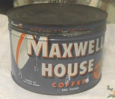 Old Vintage Maxwell House Coffee Can with key Lid Clean