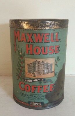 Vintage Maxwell House Coffee Tin Can Cheek-Meal Coffee 1920s Collectible Decor