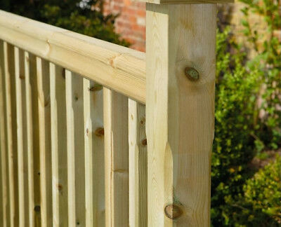 Square Stop Chamfered Green Treated Deck Decking Newel Post 82 x 82 x 1250mm