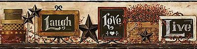 Live, Laugh, Love Country Chalkboard Shelf Wallpaper Border York AC4404BD