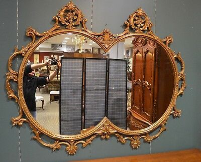 Vintage Large Ornate Burnished Gold French Style Wall Mirror