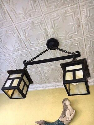 Vintage/Antique Arts and Crafts Mission Cast Iron and Original Glass-1910