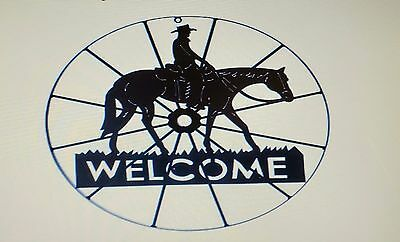 Western-Style Iron Cowboy Wagon Wheel with Horse and Rider  Welcome Sign