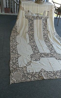 "Vintage Italian  Point de venice  lace linen  tablecloth handmade  96""×62"""