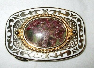 Unbranded White/Gold w/Maroon Stone Belt Buckle MADE IN USA MINT