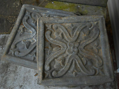 "2 Antique Metal Celing Tiles 12"" X 12"" Tin? Perhaps?"