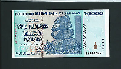 Zimbabwe 100 Trillion Dollars Banknote Note Bill 2008AA UNC includes COA