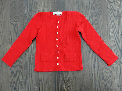 Girls Vintage Red Cardigan Sweater Wicker Garden Children - NYC - Sz 6 / 7 / 8