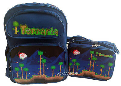 "TERRARIA Boys 16"" School Large Blue Backpack & Lunch Bag 2 pc set Boy Bags"