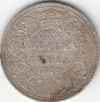 1879 British India Queen Victoria One Rupee Silver Coin With Dot   Rare