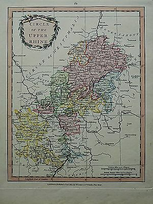 1801 Laurie Whittle Map Circle Upper Rhine Germany Deutchland Frankfurt Antique