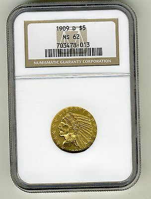 1909-D  Indian Head Half Eagle $5 Gold Ngc Ms62