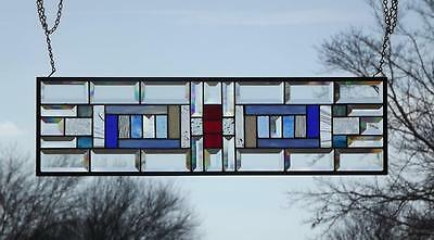 "•Americana•Beveled Stained Glass Window Panel • 28x8""(71x20cm)"