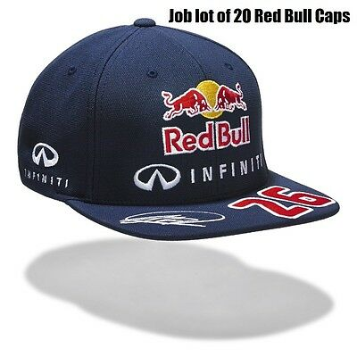 CAP x 20 Job Lot Wholesale Red Bull Racing Formula One 1 F1 Kvyat Flat Peak  US