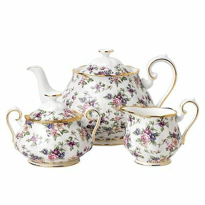 New Royal Albert 100 Years Teapot, Sugar & Creamer, Chintz