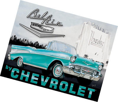 Chevy Chevrolet 1957 57 Bel Air Tin Sign 16 x 13in