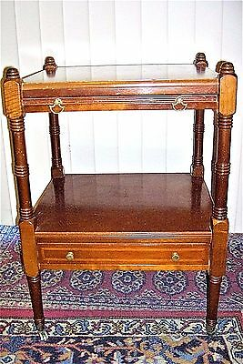 Vintage 1940s Telephone Accent Table Oak 2-Tier w Pull Out Tray & Casters 5262