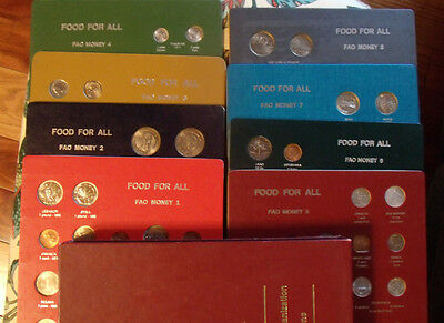FOOD FOR ALL FAO MONEY FOREIGN COIN FULL 8 PANEL SET with Slip Case