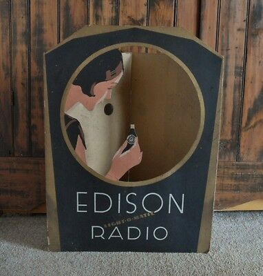 >Original 1929 THOMAS EDISON RADIO Light-O-Matic TRI-FOLD WINDOW-STORE DISPLAY!!