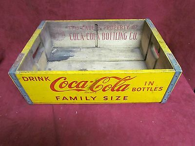Vintage Coca -Cola Yellow Family Size Wooden Crate Carrier