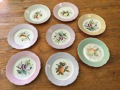 Lot Of 8 Antique Gebruder Benedikt Porcelain Salad Plates Fruit & Gold
