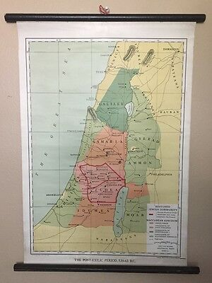 Antique RESTORED JEWISH COMMUNITY Map—1912—Maccabean—Charles Foster Kent—Linen