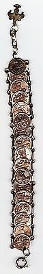 Bracelet made from 17 small Florence Italy coins still wearable-